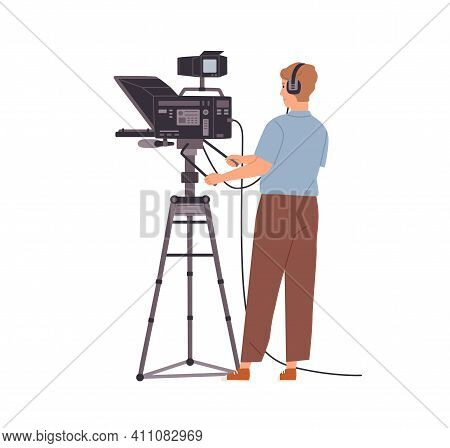 Tv-operator Or Videographer In Headphones Working With Camera And Shooting Video. Cameraman With Pro