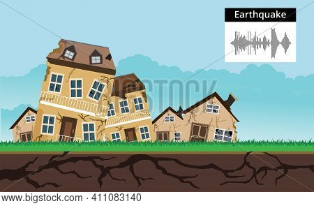 Earthquake  Natural Disasters Concept , House Collapse  Vector Design, Illustration.