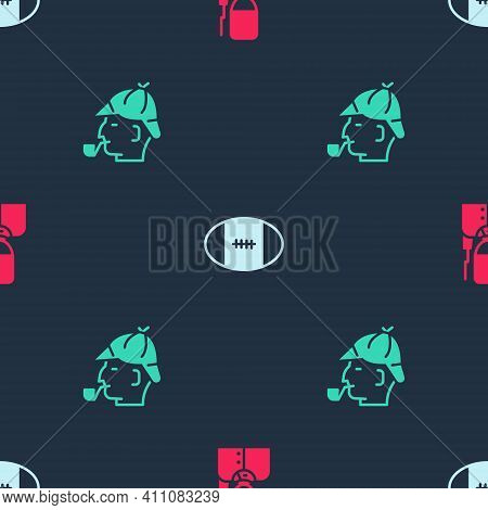 Set British Soldier, Rugby Ball And Sherlock Holmes On Seamless Pattern. Vector