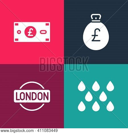 Set Pop Art Water Drop, London Sign, Money Bag With Pound And Pound Sterling Money Icon. Vector