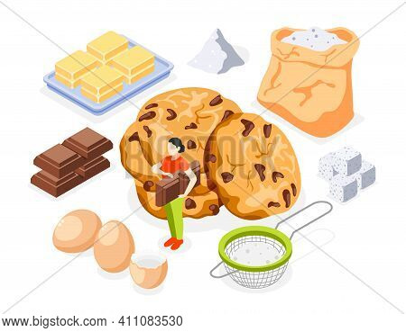 Bakery Isometric Icons Set Of Flour Sugar Butter Eggs Chocolate And Prepared Cookies Isolated Vector