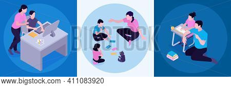Homeschooling Activities Concept 3 Isometric Compositions With Parents Supporting Studying Children
