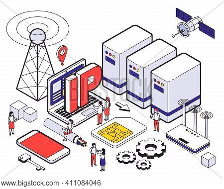 Isometric Web Hosting Colored Concept With Different Elements Of Hosting And Digital Tools Vector Il