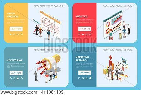 Brand Creation Advertising Analytics Marketing Research Horizontal Concept Banners Set 3d Isometric