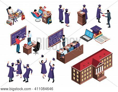Isometric Graduation Set With Dancing Students Tossing Up Academic Hats Images Of Workplaces And Sch
