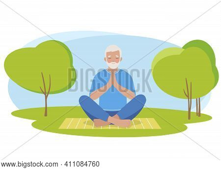 Mature Older Man Meditating And Exercising Yoga Lotus Position In Nature. Vector