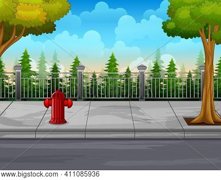 Illustration Of A Fire Hydrant And Trees On The Roadside