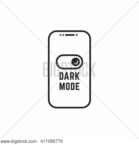 Darkmode Switch In Linear Smartphone. Concept Of Gadget Interface Switch To Dark Or Night Mode And U