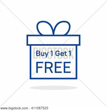 Buy 1 Get One Free With Linear Giftbox. Stroke Trendy Modern Lineart Gift Logotype Graphic Art Desig