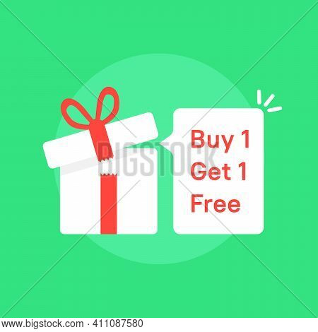 Giftbox With Buy 1 Get One Free Promo. Concept Of Save Off Your Money Or Very Good Deal And Electron