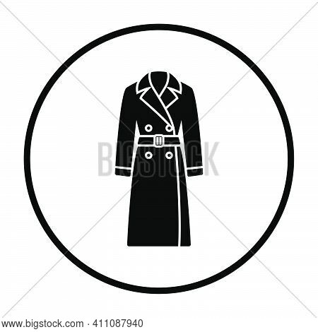 Business Woman Trench Icon. Thin Circle Stencil Design. Vector Illustration.