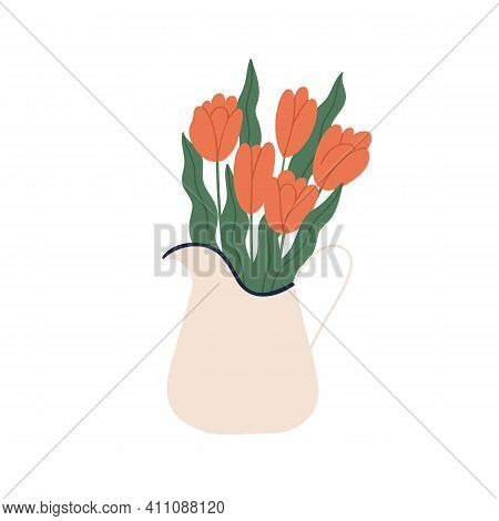 Spring Bouquet Of Blooming Red Tulips In Pitcher. Bunch Of Gentle Flowers With Blossomed Buds In Jug
