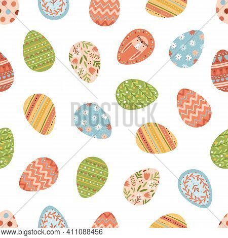 Seamless Pattern With Various Painted Easter Eggs On White Background. Repeatable Spring Festive Tex