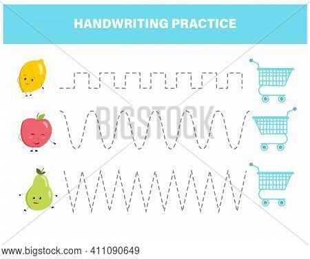 Handwriting Practice For Preschool Children. Tracing Lines With Colorful Fruits. Educational Kids Ga