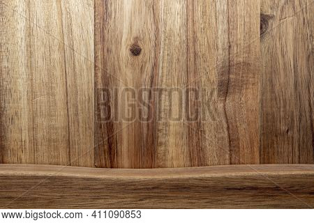 Beautiful Acacia Wood Texture. Rustic Look With Veins, Knots And Copy Space.