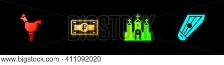 Set Cockerel Lollipop, Russian Ruble Banknote, Church Building And Kankles Icon. Vector