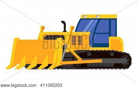Bulldozer Three Quarter View. Special Machinery In Cartoon Style.