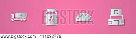Set Paper Cut Tanker Truck, Jar Of Honey, Dumpling And Mausoleum Lenin Icon. Paper Art Style. Vector