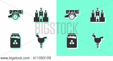 Set Cockerel Lollipop, Cannon, Jar Of Honey And Church Building Icon. Vector