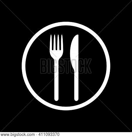 Fork And Knife Vector Icon. Simple Flat Shape Restaurant Or Cafe Place Sign. Kitchen And Diner Menu
