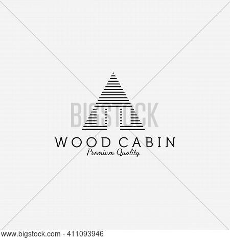 Wooden Cabin House Logo Line Art Design Vector Illustration Icon, Cabin Forest, Cottage, Wood Cabin