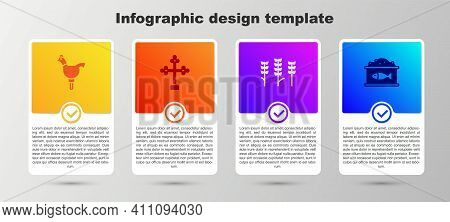 Set Cockerel Lollipop, Christian Cross, Wheat And Tin Can With Caviar. Business Infographic Template