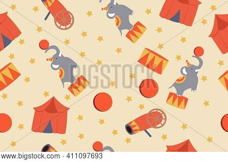 Vector Circus Seamless Pattern With Elephant, Circus Tent And Drum
