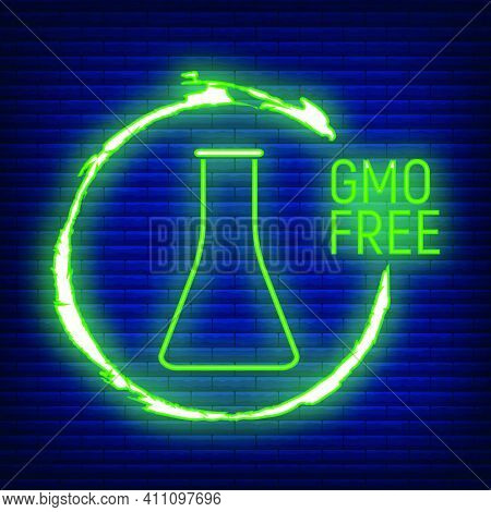 Gmo Free. Allergen Food, Products Neon Icon And Logo. Intolerance And Allergy Food. Concept Black An