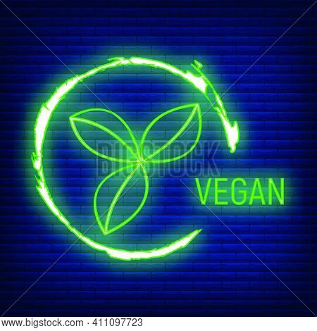 Vegan Free. Allergen Food, Gmo Free Products Neon Icon And Logo. Intolerance And Allergy Food. Conce