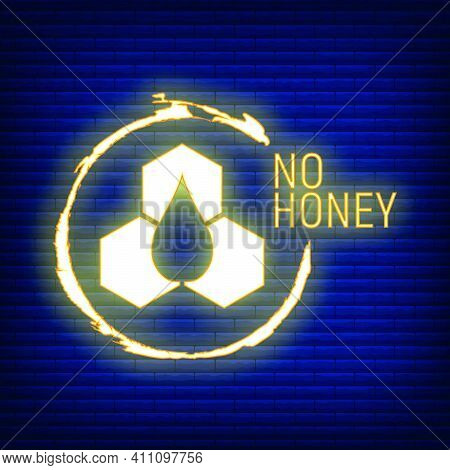 No Honey. Allergen Food, Gmo Free Products Neon Icon And Logo. Intolerance And Allergy Food. Concept