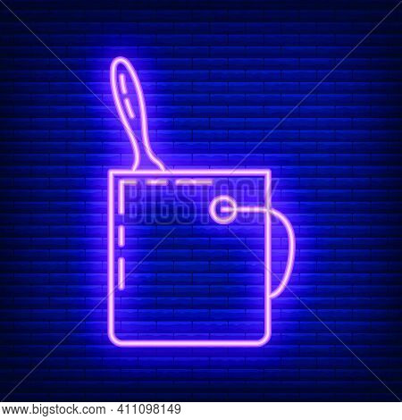 Bucket Of Construction Neon Paint With Brush Renovation House Icon Toolkit, Concept Repair Building