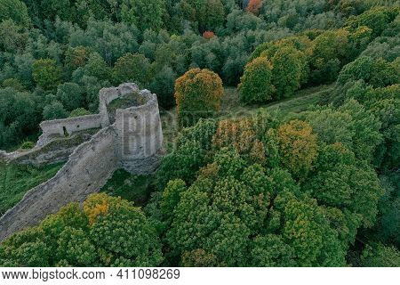 Aerial View Of The Defensive Fortress In The South-west Of The Leningrad Region, On The Edge Of The
