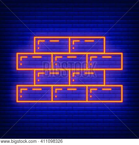 Brick Neon Wall Construction Structure Design Icon, Building Fence Side Line Flat Vector Illustratio