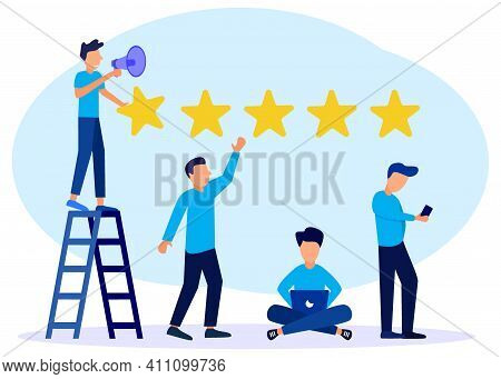 Flat Style Vector Illustration. Character People Give Five Star Feedback. Clients Vote For Satisfact