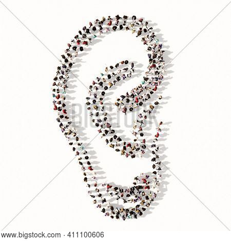 Concept or conceptual large comunity of people forming the image of an ear on gray background.  A 3d illustration metaphor for hearing loss, tinnitus, vertigo, ear pain or infection, auditory testing