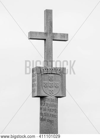 Cape Cross, Namibia - October 12, 2013: Detailed View Of Stone Cross Memorial - Replica Of Orginal P