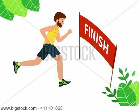 Runner Wins The Race, The Finish Line. Concept Of Overcoming Difficulties And Achieving Goals.