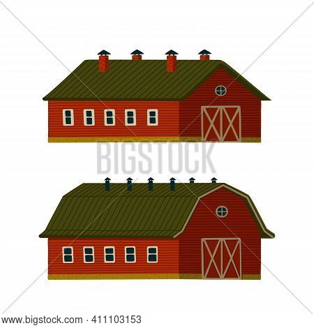 Red Barns Set. Wooden Red Barn Houses Or Stables In Rustic Retro Style.