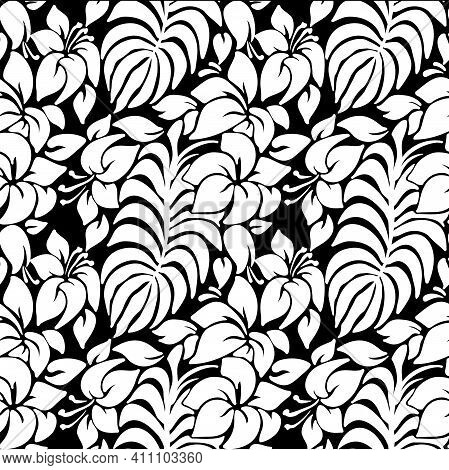 Black And White Tropical Leaves And Flowers Seamless Pattern. Vector Illustration.