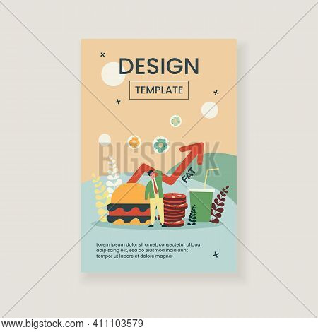 Concerning Man Thinking About Harm From Unhealthy Food. Meal, Burger, Fat Flat Vector Illustration.