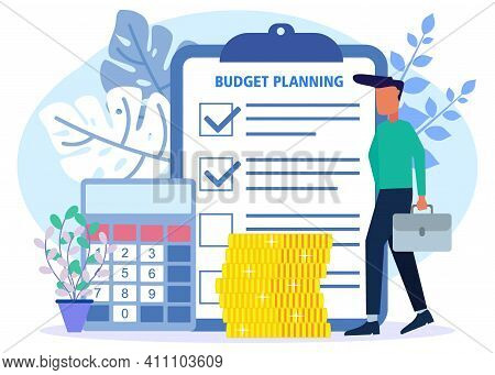 Vector Illustration Of Business Concept, Budget Planning, Financial Analyst On Checklist Paper, New