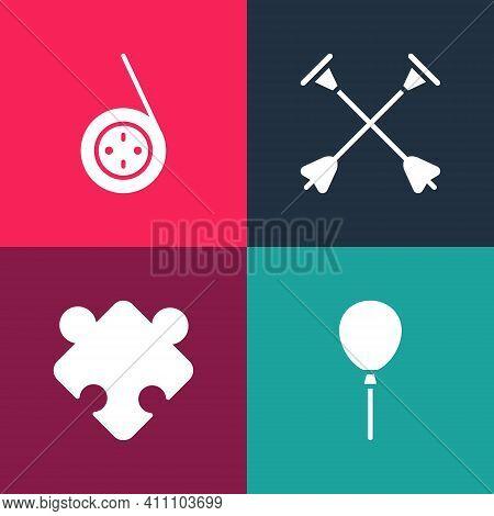 Set Pop Art Balloons With Ribbon, Puzzle Pieces Toy, Arrow Sucker Tip And Yoyo Icon. Vector