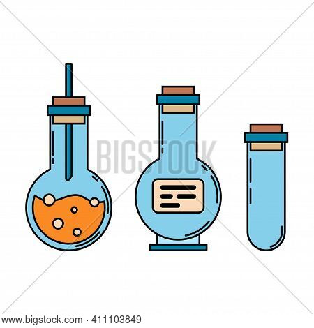 Color Medical Pharmaceutical Icon Set Retort, Tube. Professional Equipment Symbol. Science, Pharmacy