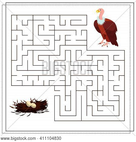 A Puzzle Maze Game For Kids. Help Me Get Through The Maze. Vulture, Nest. Vector Illustration Isolat