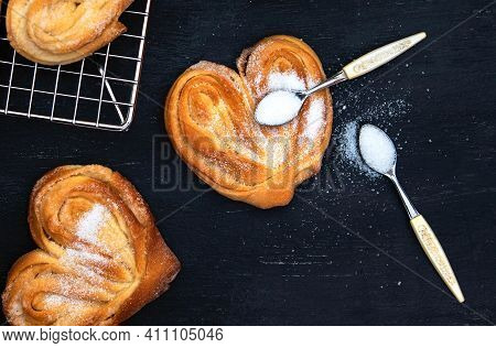 Homemade Palmier Puff Pastry. Delicious French Palmier Cookies With Sugar. Palmiers, Elephant Ear, P
