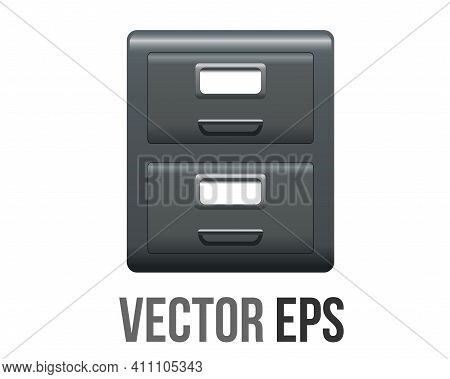 The Isolated Vector Classic Office Dark Grey Metal Filling File Cabinet Icon With Two Drawers, Handl