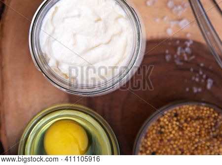 Homemade Mayonnaise. Ingredients For Mayonnaise Oil, Egg, And Mustard.