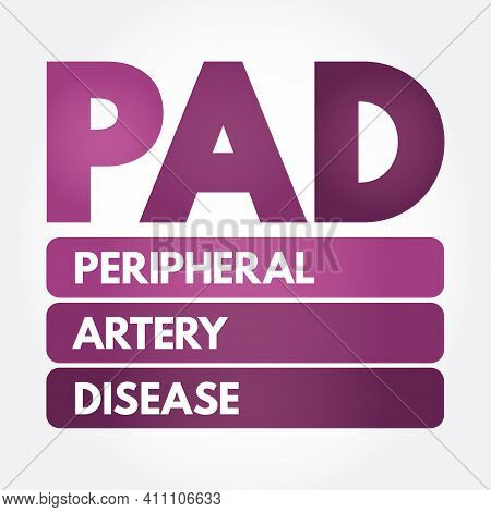 Pad - Peripheral Artery Disease Acronym, Health Concept Background