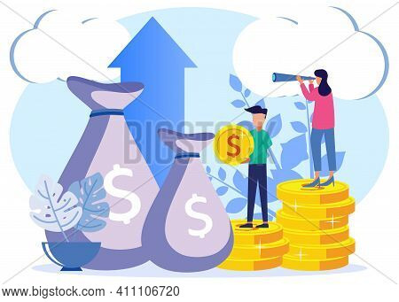 Trendy Style Vector Illustration. Fees And Funding, Rich Finance To Earn Currency, Capital Concepts,