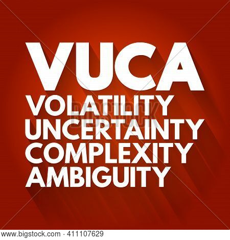 Vuca - Volatility, Uncertainty, Complexity, Ambiguity Acronym, Business Concept Background
